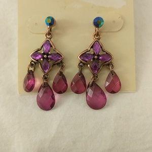 Purple rhinestone dangling earrings